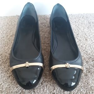 Tory Burch Leather and Gold Flats